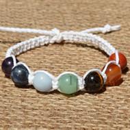 White flat hemp twine bracelet or anklet with 7 Chakra gem beads