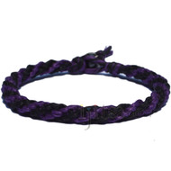 Dark Purple and Black Hemp Round Bracelet or Anklet