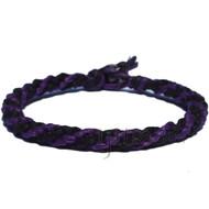 Dark Purple and Black Hemp Round Bracelet or Anklet