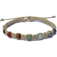 7 Chakras natural wide thick flat hemp necklace