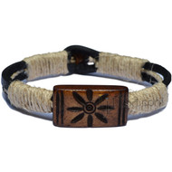 Black leather wrapped with natural hemp, Brown Sun Bone Bead Bracelet or Anklet