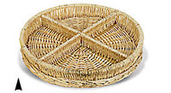 Round Willow Tray w/4 Sections