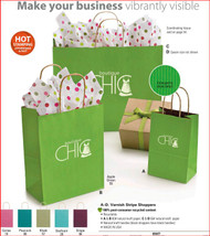 Colection Kraft Varnish Stripe Shoppers