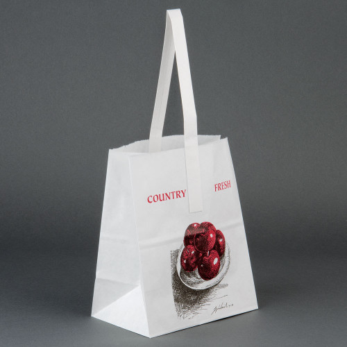 """Paper Half Peck Apple bag. Apple logo, white with handle. Wet strength. Packed 500 per case. Size: 6 3/4"""" x 4 1/4"""" x 8 1/8""""."""