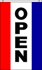 """Open"" Super Polyester Flag - Vertical"