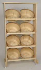 Wood Display Rack w/8 Shallow Bushel baskets