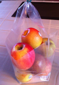 Half Peck Clear Lunch Tote or Fruit bag w/handles