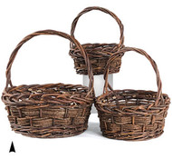 Set of 3 Round Rustic Willow Baskets
