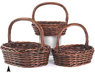 Set of 3 Oval Stained Willow Baskets