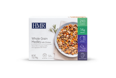 A delicious and robust combination of five different whole grains, herbs, and vegetables tossed with pieces of tender chicken. Delicious with spinach, black beans, chickpeas, tomatoes, or carrots.