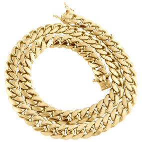 """10K Yellow Gold 10.75mm Solid Miami Cuban Link Chain Box Clasp Necklace 22""""- 30"""""""