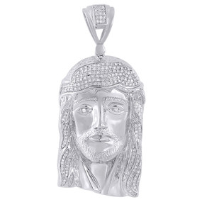 .925 Sterling Silver Mens Round Pave Set Diamond Jesus Face Head Pendent 0.83 Ct
