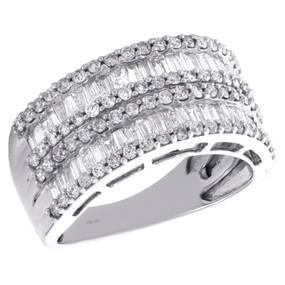 10K White Gold Baguette & Round Cut Diamond Wedding Band 10.25mm Ring 1.50 CT.