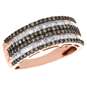 10K Rose Gold Tapered Baguette & Round Brown Diamond Wedding Band 8mm Ring 1 CT.