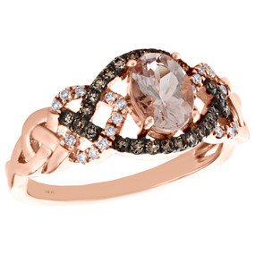 10K Rose Gold Diamond & Oval Morganite Braided Solitaire Engagement Ring 1 TCW