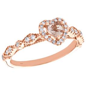 10K Rose Gold Diamond & Morganite Heart Shape Right Hand Cocktail Ring 0.45 TCW