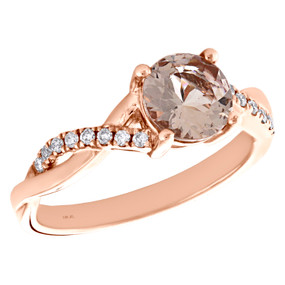 10K Rose Gold Diamond & Morganite Criss Cross Solitaire Engagement Ring 1.16 TCW