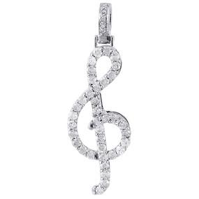 "10K White Gold Mini Diamond Musical Note Pendant Treble clef Charm 1 CT. (1.50"")"