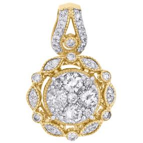 "10K Yellow Gold Round Diamond Fancy Statement Pendant 0.90"" Cluster Charm 1 CT."
