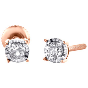 10K Rose Gold Round Diamond 4 Prong Stud 3.75mm Miracle Set Earrings 0.15 CT.