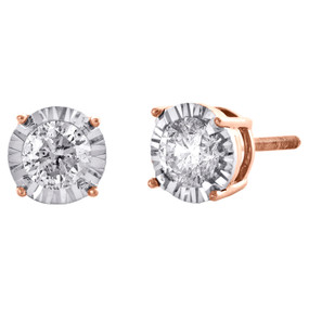 10K Rose Gold Round Cut Diamond 4 Prong Stud 6.50mm Miracle Set Earrings 3/4 CT.