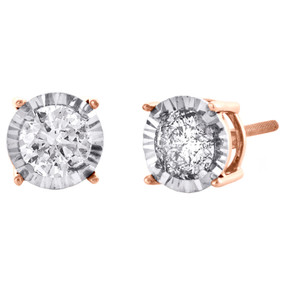 10K Rose Gold Round Cut Diamond 4 Prong Studs 7.50mm Miracle Set Earrings 1 CT.