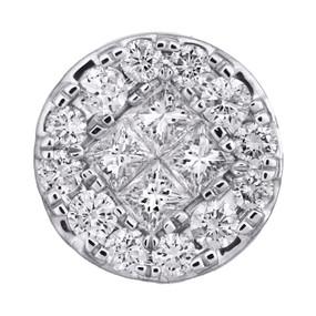 "14K White Gold Princess Diamond Soleil Design Slide Pendant 0.50"" Charm 1 CT."