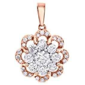 "14K Rose Gold Solitaire Diamond Floral Halo Flower Pendant 0.65"" Charm 0.50 CT."