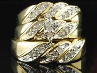 10K Mens Ladies Yellow Gold Diamond Engagement Ring Wedding Band Trio Bridal Set 1/4 CT.