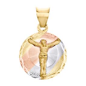 """14K Tri-Color Gold Diamond Cut Texture Jesus Crucifix Circle Pendant 0.75"""" Charm"""
