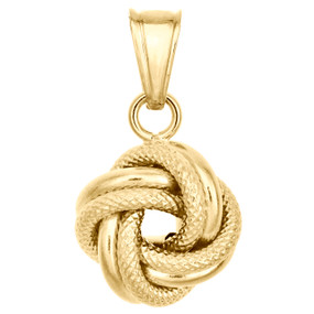 14K Yellow Gold Fancy Italian Love Knot Hammered Textured Pendant Charm 0.85""