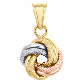 "14K Tri-Color Gold Fancy Italian Love Knot Textured Pendant Women's Charm 0.85"""