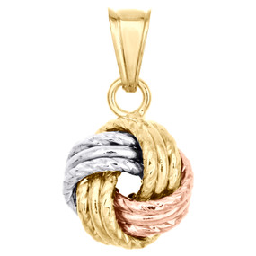 14K Tri-Color Gold Fancy Italian Love Knot Hammered Textured Pendant Charm 0.80""