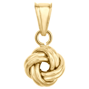14K Yellow Gold Fancy Italian Love Knot Texture Pendant Double Wire Charm 0.75""