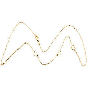 14K Yellow Gold Italian Love Hearts Cutout Statement Cable Chain Necklace 18""