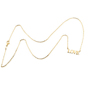 """14K Yellow Gold Fancy Italian Script LOVE Statement Cable Chain Necklace 18"""""""
