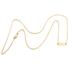 """14K Yellow Gold Italian Statement Infinity Love Forever Rolo Chain Necklace 18"""""""