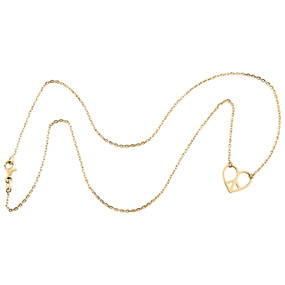 """14K Yellow Gold Fancy Italian Love Peace Sign Statement Cable Chain Necklace 18"""""""