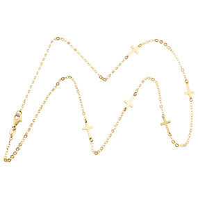 """14K Yellow Gold Italian Three Sideways Cross Statement Cable Chain Necklace 18"""""""