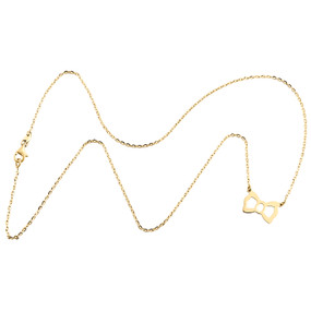 """14K Yellow Gold Bow Knot Loop Pendant Italian Cable Chain Statement Necklace 18"""""""