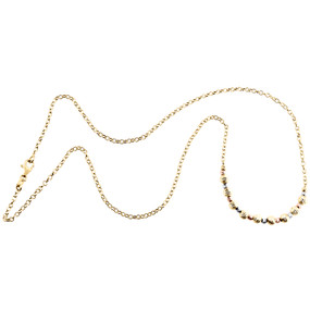 """14K Tri-Color Gold Fancy Moon Cut Bead Italian Cable Chain Statement Necklace 18"""""""
