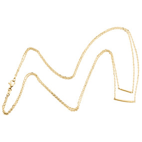 """14K Yellow Gold Italian Double Link Cable Chain Statement Name Bar Necklace 18"""""""