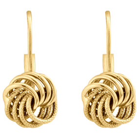 14K Yellow Gold Polished / Textured Fancy Love Knot Leverback Italian Earrings