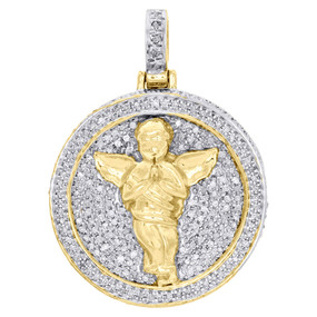 10K Yellow Gold Diamond 3D Praying Angel Medallion Pendant Pave Charm 1 ct.