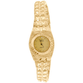 10K Yellow Gold Ladies Geneve Classic Black or Champagne Dial 19mm Nugget Watch