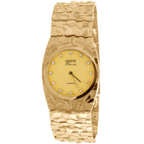 10K Yellow Gold Mens Geneve Classic 30mm Nugget Watch Black or Champagne Dial