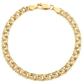 """14K Yellow Gold 5mm Multi Rolo Double Cuban Italian Fancy Statement Bracelet 7"""""""