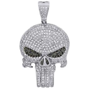 """10K White Gold White & Black Diamond Punisher Skull 1.70"""" Pendant Charm 1.65 CT."""