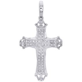 "10K White Gold Genuine Diamond Dome Cross Pendant 1.80"" Mens Pave Charm 0.17 CT."