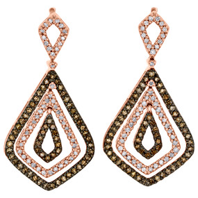 10K Rose Gold Brown Diamond Triple Teardrop Dangler Chandelier Earrings 1 CT.